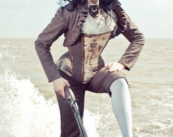 Tweed & Leather Jacket, Shrug, Pirate, Steampunk