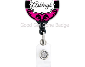 Retractable Badge Holder - Bright Damask - Choice of Colors - Personalized Name Badge Reel