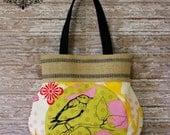 SALE / Pretty bird on branch bag / Jute Webbing