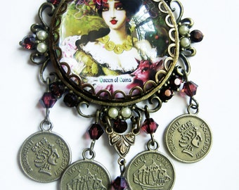 Queen of Coins - Pentacles Tarot Necklace Brass with Burgundy Crystals and Pearls.