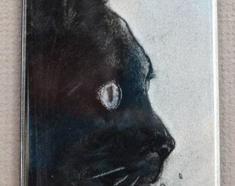 In The Dark Black Cat Art Magnet By Cori Solomon