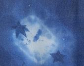 Blue Stars Hand Dyed and Drawn Silk Chiffon Scarf