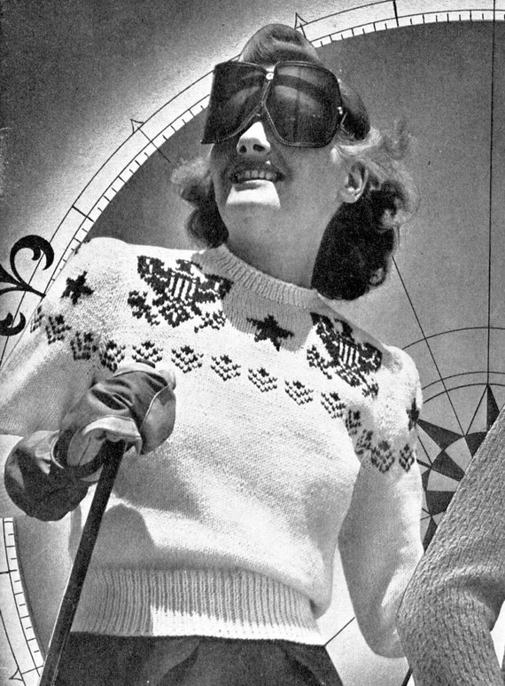 1940s Style Sweaters and Knit Tops 1940s Patriotic Stars & Eagles Ski Sweater-  PDF Knitting Pattern Instant Download $2.99 AT vintagedancer.com