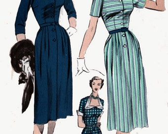 1950s Dress Advance 5689 Womens COUTURE Glam with Unique Neckline Vintage 50s Sewing Pattern Size 12 Bust 30