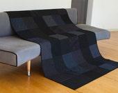Modern Throw Quilt Custom Made Throw Size Goth Bedroom Goth Gift Modern Minimal Quilt Black Quilt Goth Decor Modern Art Quilts Lap Quilts