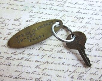 SALE Vintage Brass Identification Tag or Fob Virgil Lawrence
