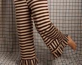 Steampunk Wide Leg Pants, Brown Cream Stripes, Cotton Yoga Pants, Tribal Belly dance, Capri pants,  Lounge Pants. Medium