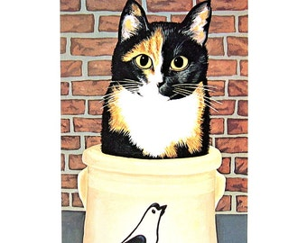 Cat Print - Cat in a Crock - 1985 Vintage Book Page - 9 x 12