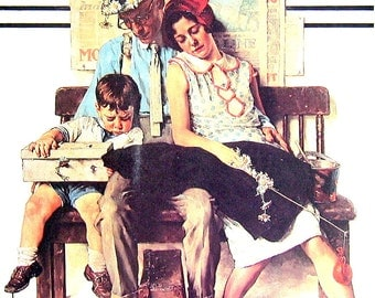 Home From Vacation, Post Cover, circa 1946 - Vintage Book Page - 1976 Norman Rockwell Print
