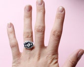 Black and White Eye Adjustable Ring