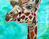 Giraffe Mosaic Greetings Card - Mosaic Art