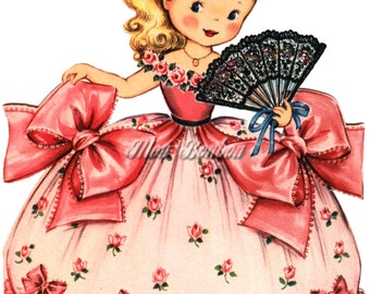 Retro Girl with Pink Rose Dress 5x7 Clip Art Illustration .PnG and .JPG - DiY Printable - INSTANT DOWNLOAD