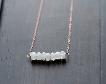 Moonstone Nugget Necklace, 14k Rose Gold Filled ,, Gold or Sterling Silver , June Birthstone Bar, White Bar Layering Necklace - Puritan