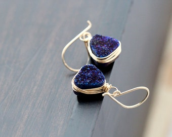 Druzy Gold Earrings, Navy Blue Quartz Triangles Bezel Wrapped in Gold, Rose Gold, Sterling Silver, Geometric - Inkwell