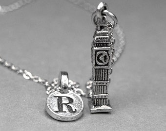 Big Ben Necklace, Clock Tower Charm, 3D antiqued silver plated pewter, initial necklace, initial hand stamped, personalized, monogram