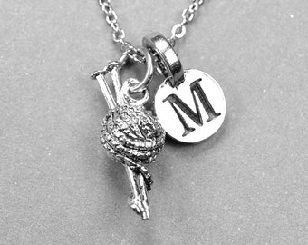Ball of Yarn Necklace, Yarn Needle Charm, Knitting, silver plated pewter, initial necklace, knitters necklace, personalized, monogram