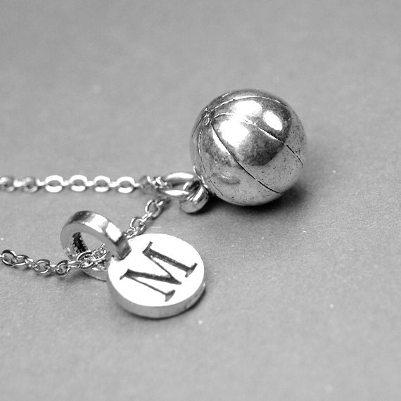 Basketball Charm Bracelet: Basketball Necklace Basketball Charm Sports Jewelry Silver