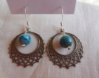 Blue Crazy Lace Agate Earrings with Silver
