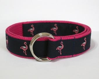 Girls Ribbon Belt / Pink Flamingo Belt / Navy D-Ring Belt / Preppy Belt for girls, babies and toddlers / Navy Blue Fabric Belt