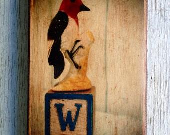 Vintage Toy  W is for Woodpecker Art/Photo - Wall Art 4x6