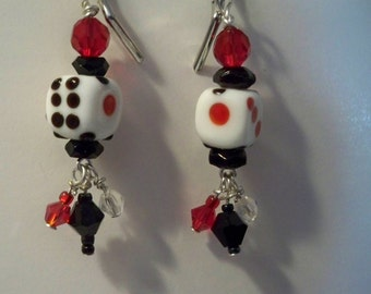 Dice Earrings, Red, Black, White Dice Earrings with Crystal Bead Dangles, Card Players Earrings, Casino Earrings,  Glass Dice Beads