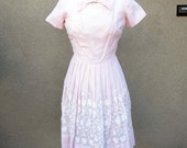 "Dreamy Baby Pink 60's cotton summer dress with embroidery waist 26"" small"
