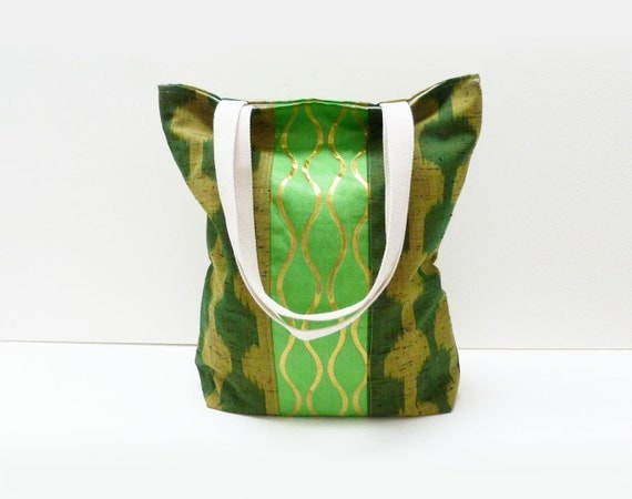 Tote bag - Green and gold Japanese fabric