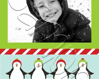 Printable Playful Penguins Photo Christmas Card