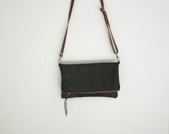 Salvaged Leather Foldover Crossbody Bag / Leather Bag / Cross body bag / Leather clutch / Convertible Bag