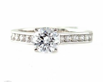 Moissanite Engagement Ring 14K Cathedral Diamond Accented Solitaire Moissanite Ring Conflict Free Diamond Alternative Custom Bridal Jewelry