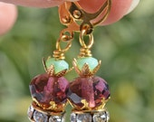 Violet Earrings with a touch of celadon with crystal ring - Princess Earrings - Gift under 25 dollars