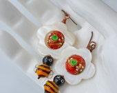 Flower and Honeybee earrings - Honeybee Buzz - vintage and new lampwork - Garden Inspired Earrings