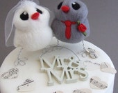 Love Birds Wedding Cake Topper Grey and Red Wedding Bride and Groom Needle Felted Birds