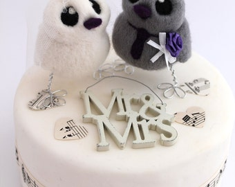 Bird Wedding Cake Topper in Purple and White Wedding Bride and Grey Groom Needle Felted Birds