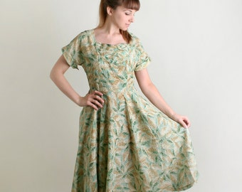 Vintage 1950s Dress - Sheer Mint Leave Print Light Day Dress - Large Summer