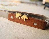 Spade Stud Earrings,Tiny Gold Earrings,Brass Jewelry,Sterling Silver Posts,Spade Earrings,Sterling Silver Hypoallergenic Studs (E192)