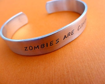 Zombies Are Coming Bracelet - Personalized Bracelet - 3/8 cuff