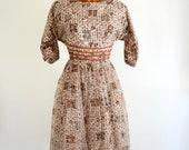 Sheer Brown Nylon Vintage 60s Jody of California Party Dress M