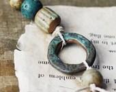 Organic- Ancient beads- handmade ceramic bead set