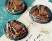 Weathered Ship- handmade ceramic pendant- ONE