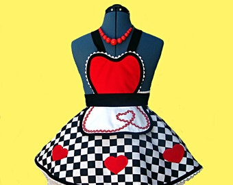"""Apron - Girl's Costume Diner Apron - """" Queen of Sweet Hearts """" Costume Apron MADE TO ORDER"""