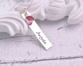 Personalized Necklace Sterling Silver, Vertical Bar Necklace, Personalized bar necklace, Mothers Day gift for Mom, gift for her