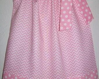 SUMMER SALE Pillowcase Dress Chevron Dress Pink Dress Girls Dresses Summer Dresses Baby Dresses Toddler Dresses Baby's First Birthday Dress