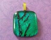 Emerald Green Pendant, Dichroic Pendant, Omega Slide, Dichroic Jewelry, Large Gold Bail - Emerald Magic - 3559 -2