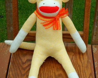 Sock Monkey Doll , Handmade in Rockford, IL - Traditional Rockford Red Heel Sock Monkey , Yellow Monkey with Orange Bow