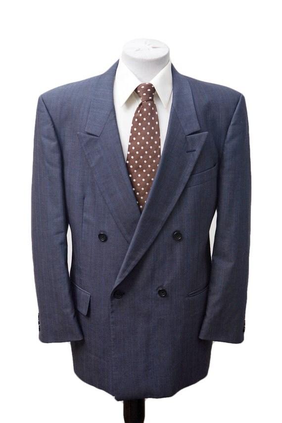 Men's Givenchy Suit / Vintage Pinstripe Suit / Blue Jacket, Trousers, Peak Lapels / Size 46/Large-XL