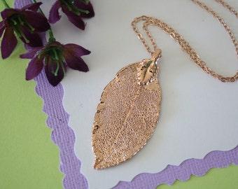 Rose Gold Rose Leaf Necklace, Real Leaf Necklace, Rose Leaf, Rose Leaf, LC24