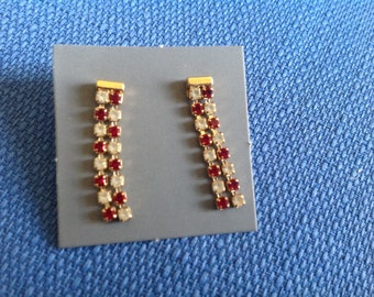 Pair of Vintage New in Box Avon Goldtone Simulated Ruby and Rhinestone Pierced Earrings with Surgical Steel Posts