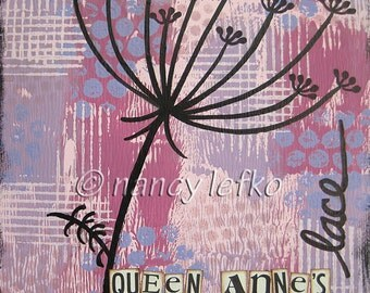 queen annes lace - 6 x 6 ORIGINAL COLLAGE by Nancy Lefko