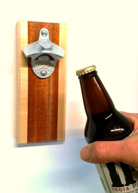 Wall mounted bottle opener with magnetic cap catcher by smilemoon - Bottle opener wall mount magnet ...